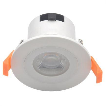Spot LED fixe plast D87mm H60mm IP65 6W 3000K 550lm dim 40° Class II