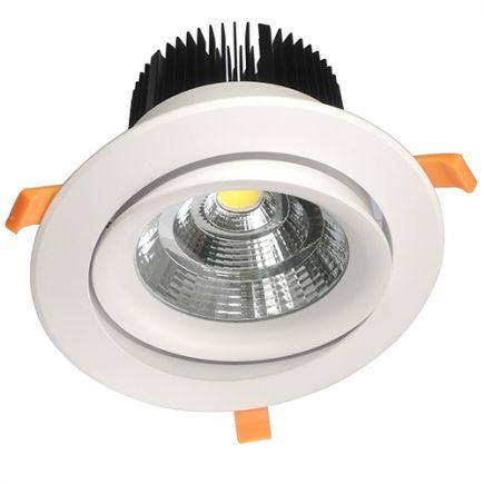 Cavell - Kippbares LED-einbau-Downlight Ø195x129 ein.Ø158 50W4000K 4500lm 45° weiß