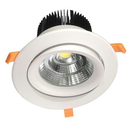 Cavell - Kippbares LED-einbau-Downlight Ø195x129 ein.Ø158 50W 3000K 4250lm 45° weiß
