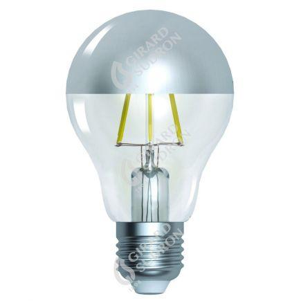 """Standard A60 Leuchtfaden LED """"Kopfverspiegelt Silber"""" 6W E27 2700K 750Lm Dim."""