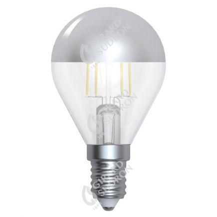 "Kugelformen G45 Leuchtfaden LED ""Kopfverspiegelt Silber"" 4W E14 2700K 350Lm Dim."