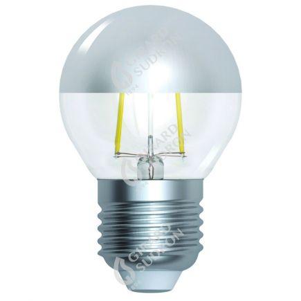 "Kugelformen G45 Leuchtfaden LED ""Kopfverspiegelt Silber"" 4W E27 2700K 350Lm Dim."