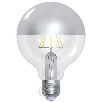 """Globe D95 Leuchtfaden LED """"Kopfverspiegelt Silber"""" 8W E27 2700K 950Lm Dim."""