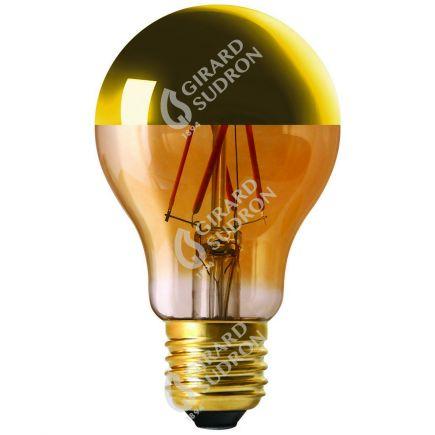 """Standard A60 Leuchtfaden LED """"Kopfverspiegelt Gold"""" 6W E27 2700K 750Lm Dim."""
