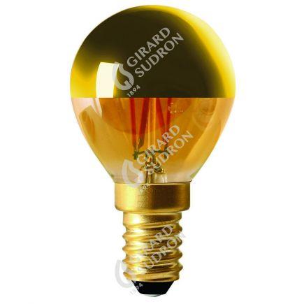 """Kugelformen G45 Leuchtfaden LED """"Kopfverspiegelt Gold"""" 4W E14 2700K 350Lm Dim."""