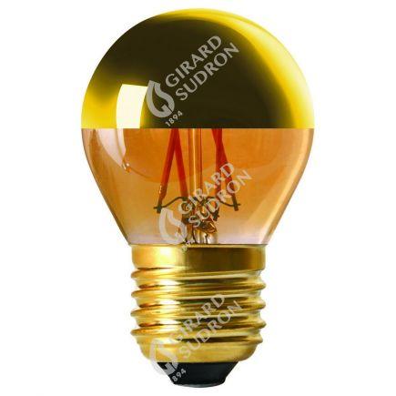 """Kugelformen G45 Leuchtfaden LED """"Kopfverspiegelt Gold"""" 4W E27 2700K 350Lm Dim."""