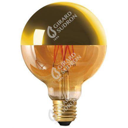 "Globe D95 Leuchtfaden LED ""Kopfverspiegelt Gold"" 8W E27 2700K 950Lm Dim."