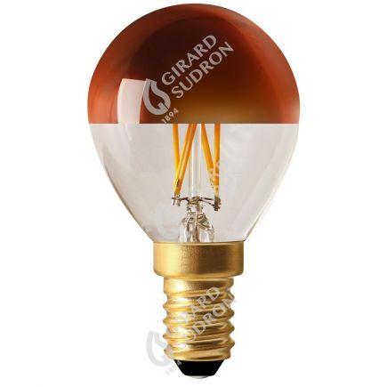 "Kugelformen G45 Leuchtfaden LED ""Kopfverspiegelt Bronze"" 4W E14 2700K 350Lm Dim."