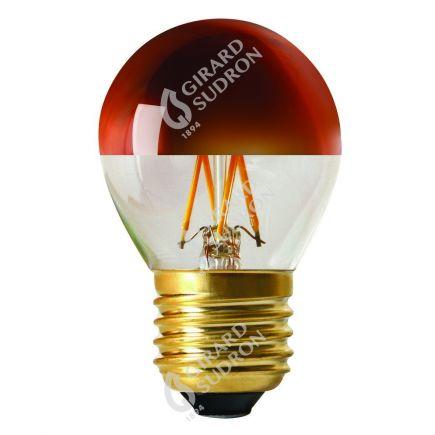 "Kugelformen G45 Leuchtfaden LED ""Kopfverspiegelt Bronze"" 4W E27 2700K 350Lm Dim."