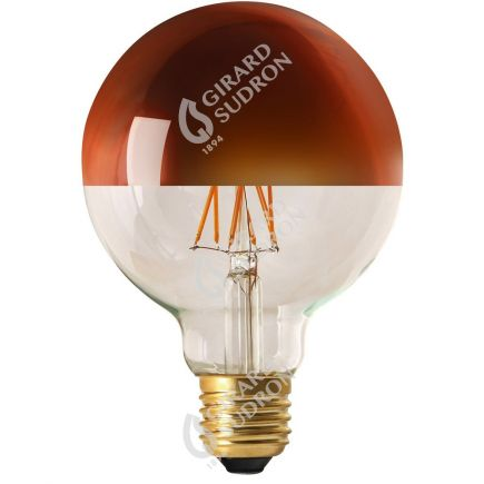 """Globe D95 Leuchtfaden LED """"Kopfverspiegelt Bronze"""" 8W E27 2700K 950Lm Dim."""