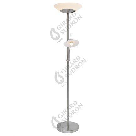 Carpo - Dimmable LED floor lamps with reading light Ø400x1810 42+4.5W 3000K 4400+400lm 120° satin nickle Dim