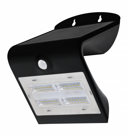 BUTTERFLY - Projecteur solaire LED noir détecteur présence IP65 4000K 3,2W 400lm