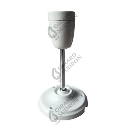Suspension E27 et pavillon porcelaine blanche sur tube rigide