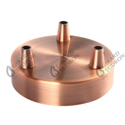 Rosace acier ø 100 mm 3 sorties cuivre + serres-câbles ø 6mm