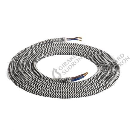 Câble textile rond double isolation 2 x 0,75 mm2 noir et blanc L. 2 m ø 6 mm