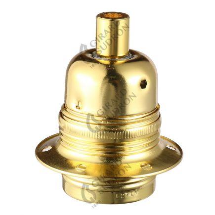 Douille acier E27 filetée avec bague or