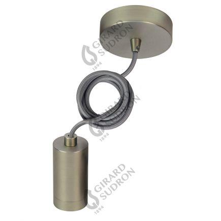 Suspension E27 filetée et pavillon acier brossé + câble textile gris L. 2 m