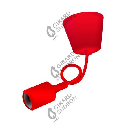 Suspension E27 et pavillon silicone rouge + câble silicone rouge L. 0,80 m