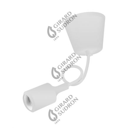 Suspension E27 et pavillon silicone blanc + câble silicone blanc L. 0,80 m