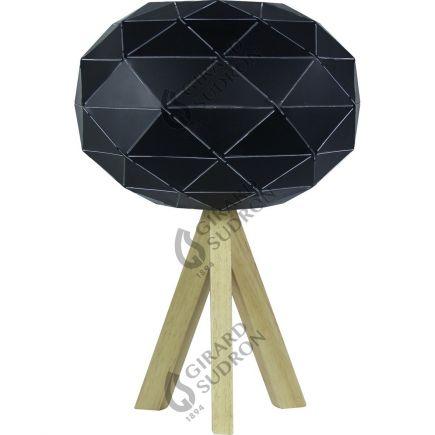 Lampe à poser E27 Max.60W abat-jour Noir extérieur / Blanc intérieur - pieds Bois clair - cable PVC L.200cm avec inter. Noir