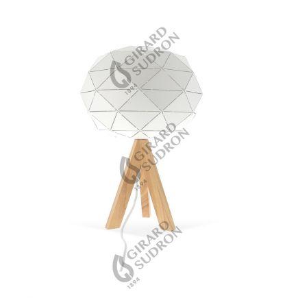 Lampe à poser E27 Max.60W abat-jour Blanc extérieur / intérieur - pieds Bois clair - cable PVC L.200cm avec inter. Blanc