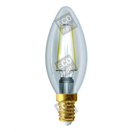 Ecowatts - Flammen C35 Leuchtfaden LED 2W E14 2700K 220Lm Kl.