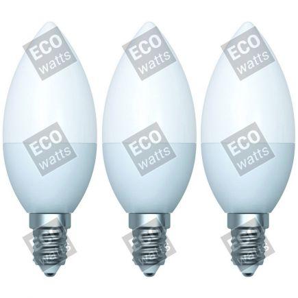 Ecowatts - Candle C35 (3pcs) LED 270° 5W E14 2700K 400Lm Milky