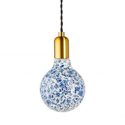 Ampoule MOZAIC bleue G125-filament Led-4W-E27-10000K-Dim G