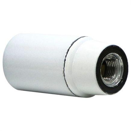 Douille montée E14 Ø27mm chemise lisse culot court blanc vernissé