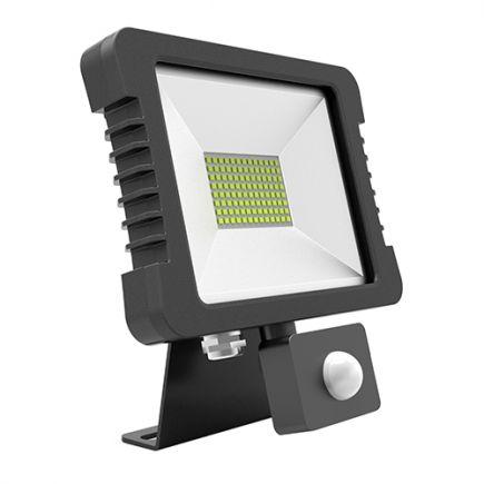 Yonna - LED Projektor-Leuchte IP 65 250x268x51 50W 3000K 3600lm 110° schwarz PIR